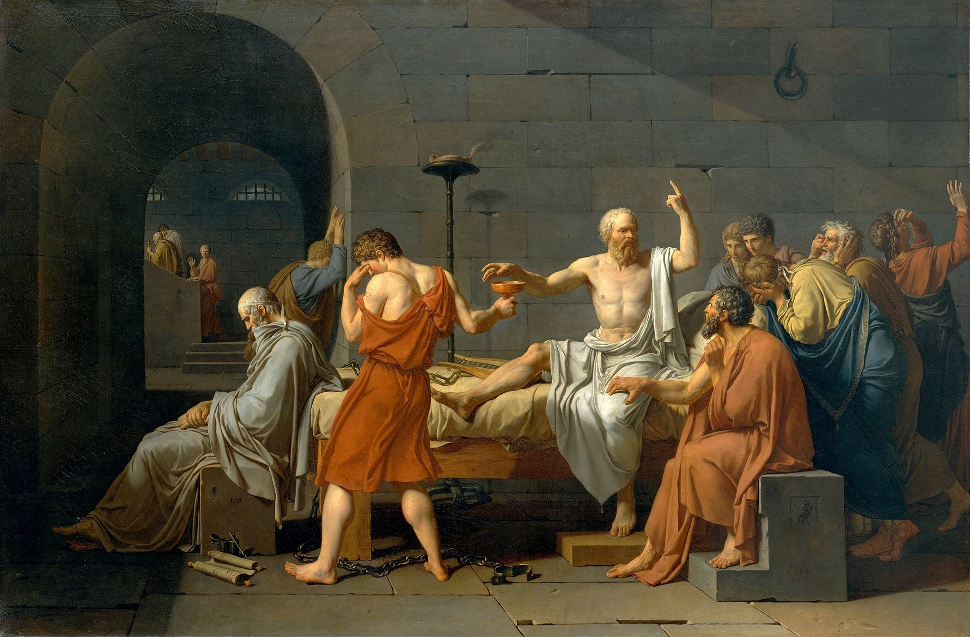 Think The Death of Socrates (French: La Mort de Socrate) is an oil on canvas painted by French painter Jacques-Louis David in 1787.